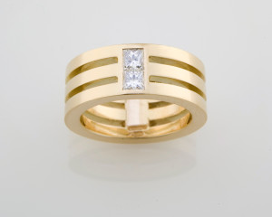 moya corcoran yellow gold and princess cut ring