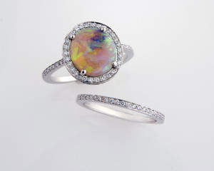 opal ring with double band of diamonds and matching band