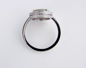 opal ring with double band of diamonds side