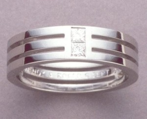 platinum triple band with princess cuts